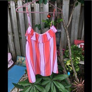 Pink and orange spaghetti strap top